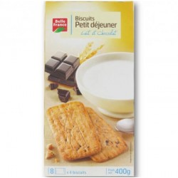 BELLE FRANCE BISCUITS PETIT DEJ. LAIT CHOCO 400GR