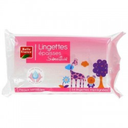 BELLE FRANCE LINGETTES BB ROSE AMANDE DOUCE X 64