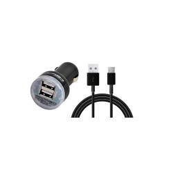 CHARGEUR TURBO VOITURE 2 USB 2.4A + CABLE LIGHTNING COMP. 1M NOIR AKASHI