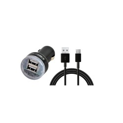 CHARGEUR TURBO VOITURE 2 USB 2.1A + CABLE MICRO USB 1M NOIR AKASHI