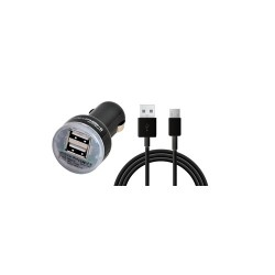 CHARGEUR TURBO VOITURE 2 USB 2.4A SMARTPHONE/I PAD/TABL. NOIR AKASHI