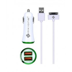 CHARGEUR VOITURE USB + CÂBLE I-PHONE 2.4A OXIONE X 1